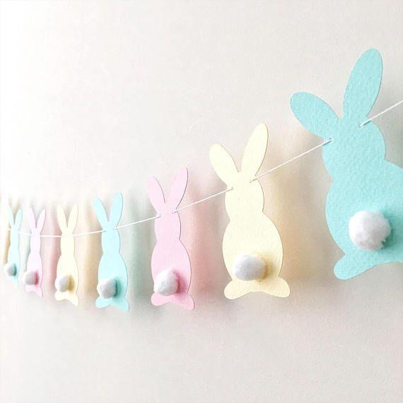 Pastel Bunny Easter Garland Rabbit Garland Bunny Baby Shower 1st Birthday Pink Yellow Aqua Bunny Banner Easter Decor Spring Home Decor LB017