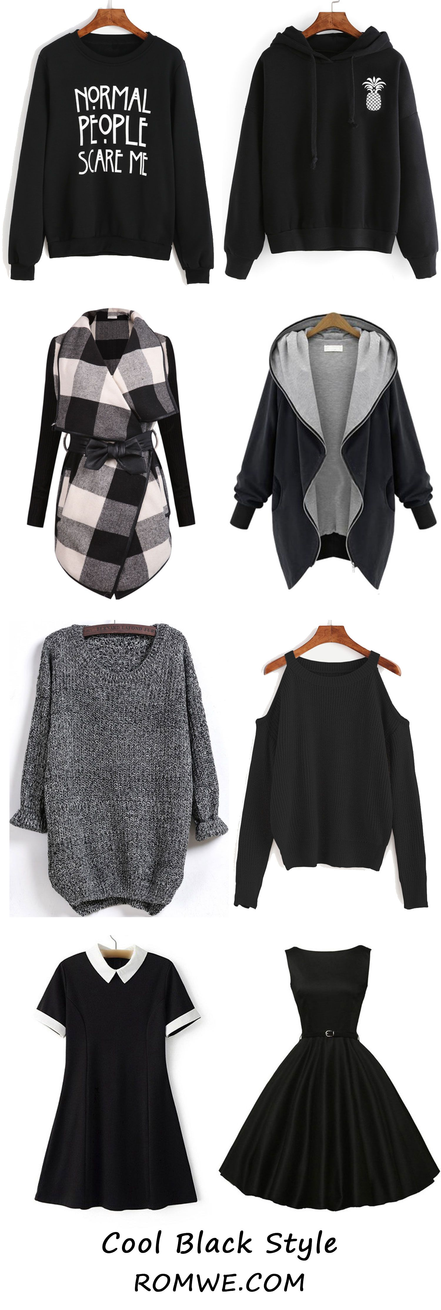 Cool Black - Sweatshirts, Sweaters, Dresses and Coats from romwe ...