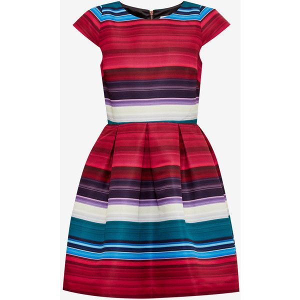 Ted Baker Striped pleated dress (5.335 ARS) ❤ liked on Polyvore featuring dresses, ted baker, pleated dress, knee length dresses, striped pleated dress and red stripe dress
