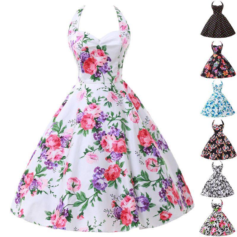 b5f72e1f0cf LA 1 Vintage Rockabilly Floral Retro Swing 50s 60s pinup Housewife Evening  Dress  GraceKarin  TeaDress  Cocktail