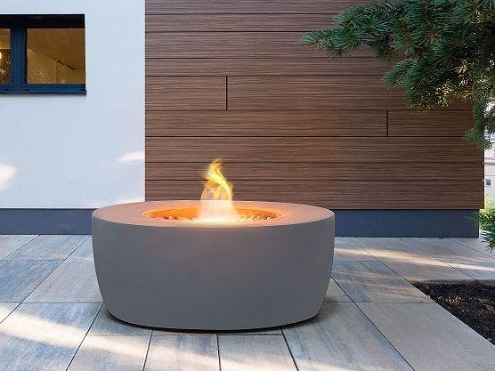 Feuerstelle hellgrau Leichtbeton rund INDUS Fire pit patio, Patios