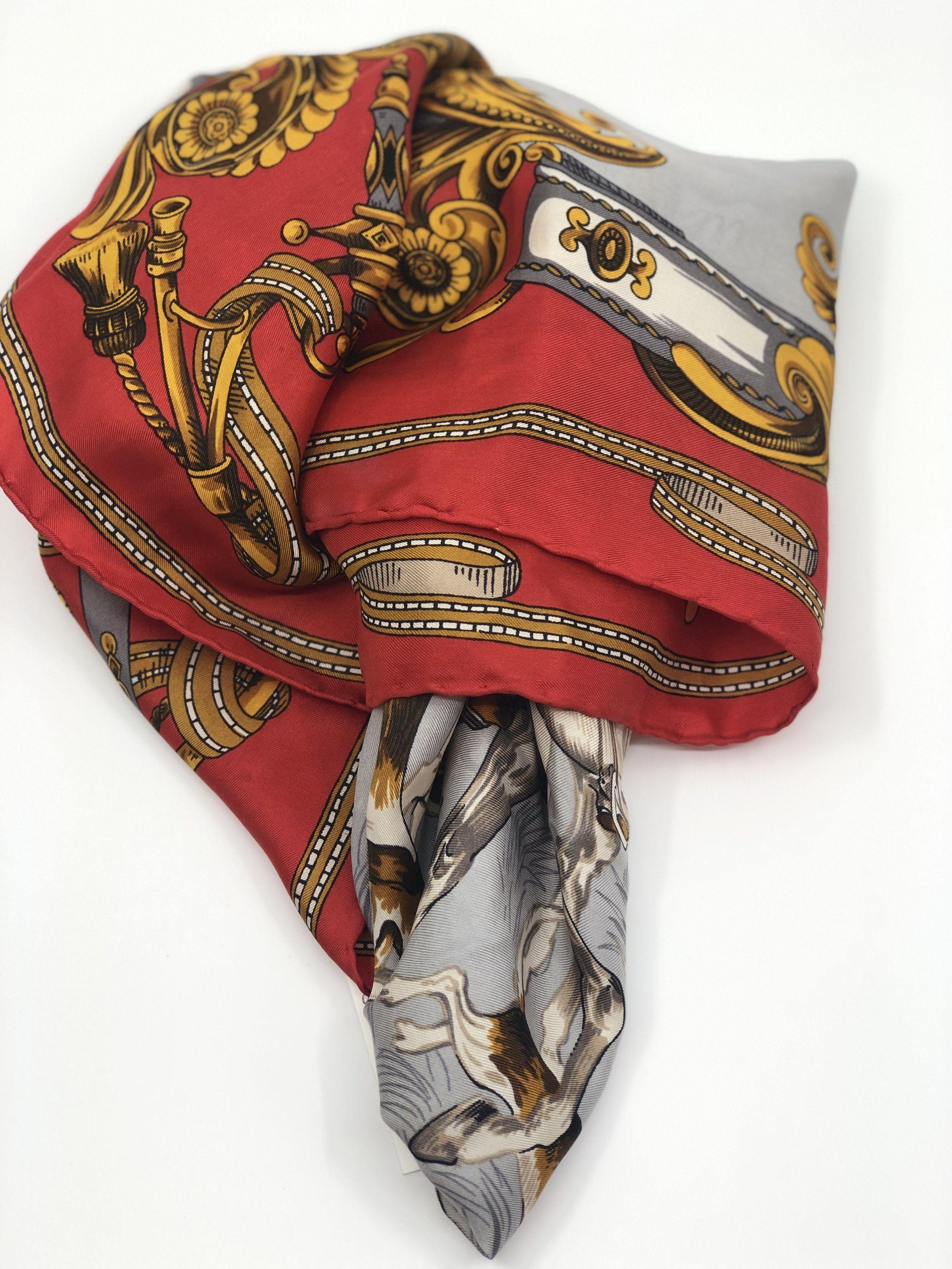 Red Vintage French Silk Scarf Reine Seide French Silk Scarf