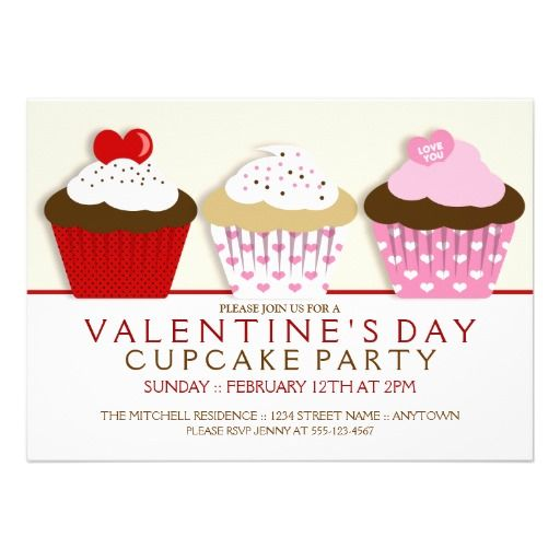 Valentines Day Cupcake Party Invitations  Party Invitations