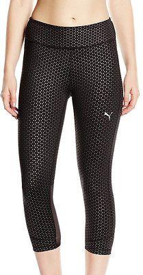Puma wt coolcell #ladies 3/4 #capri #running tights - black,