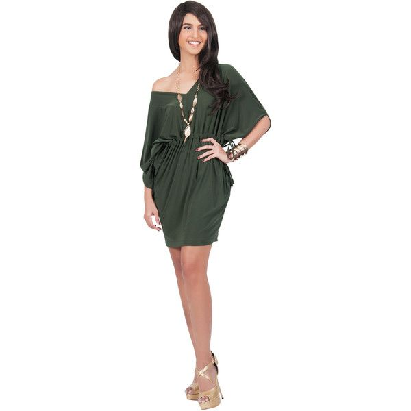 d36399399bd5 Koh Koh Olive Green Short Sleeve Off Shoulder V-Neck Mini Short Dress ( 39)  ❤ liked on Polyvore featuring dresses