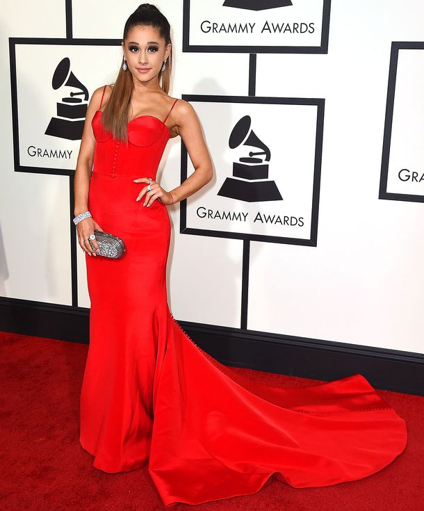 Best dressed at the 2016 Grammy Awards Ariana Grande in a red Romona Keveza dress | Red Carpet ...