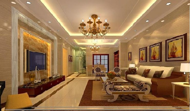 Pop Ceiling Designs For Large Living Room With Flat Screen TV
