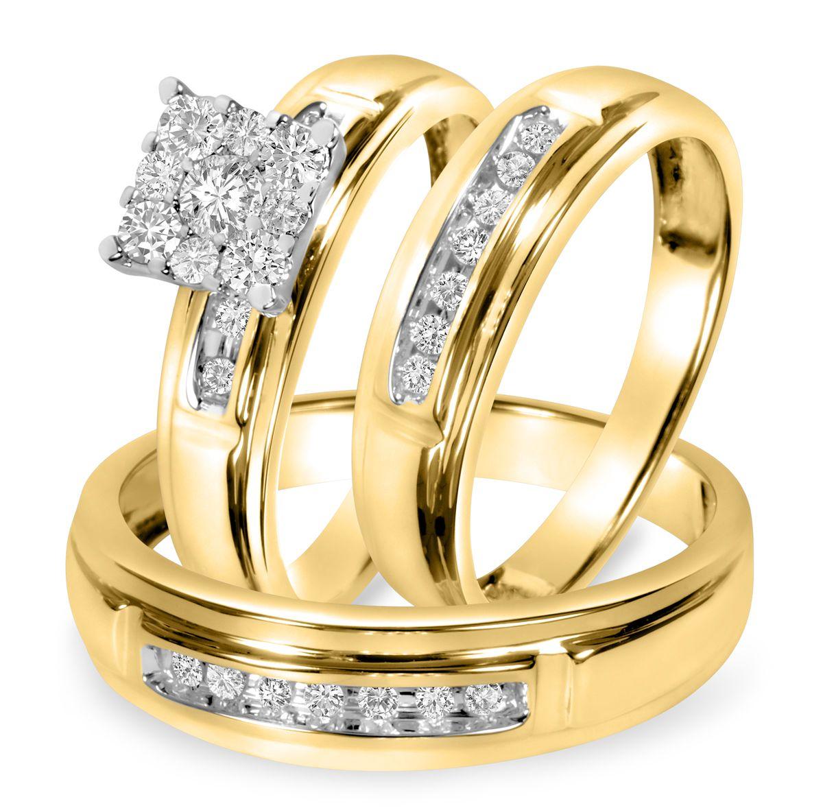 1 2 Ct T W Diamond Trio Matching Wedding Ring Set 14k Yellow Gold Wedding Ring Trio Sets Cheap Wedding Rings Sets White Gold Wedding Ring Set