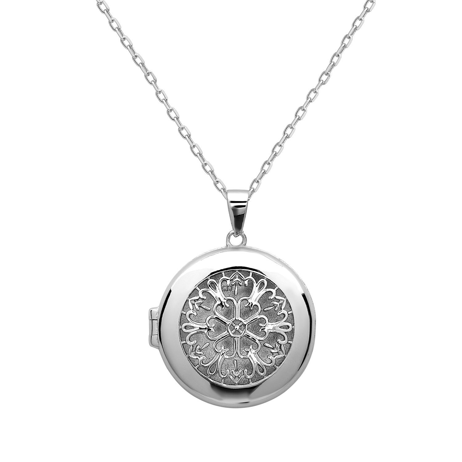 La Preciosa Sterling Silver Designed Circle Locket, Women's