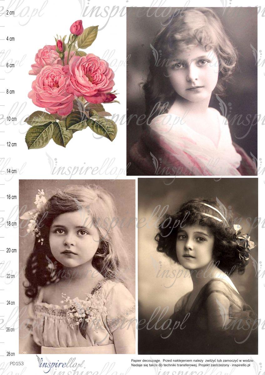Elektroniczny Papier Decoupage Portret Dzieci I Kwiaty Print