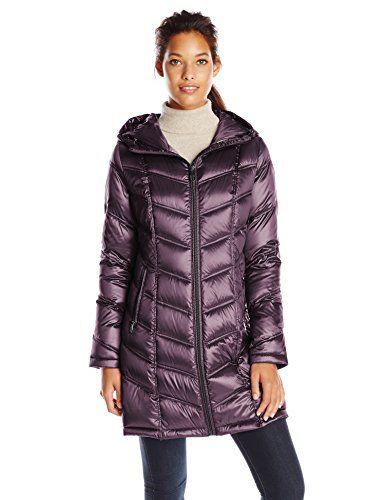 0244b5a2ae1 Calvin Klein Women's Mid Length Packable Chevron Down Coat, Metallic ...