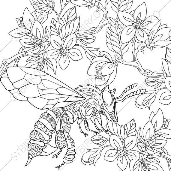 Coloring Page For Adults Digital Coloring Page Bumble Bee Etsy Bee Coloring Pages Coloring Pages Cartoon Bee