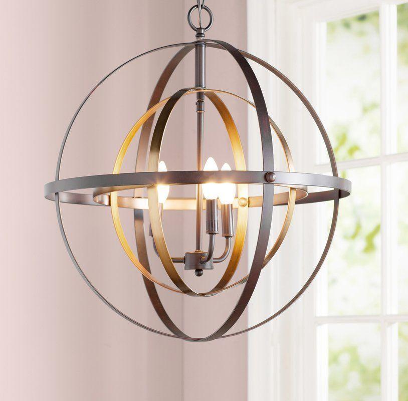 Antique Brass And Glass Globe 5 Light Alessa Chandelier