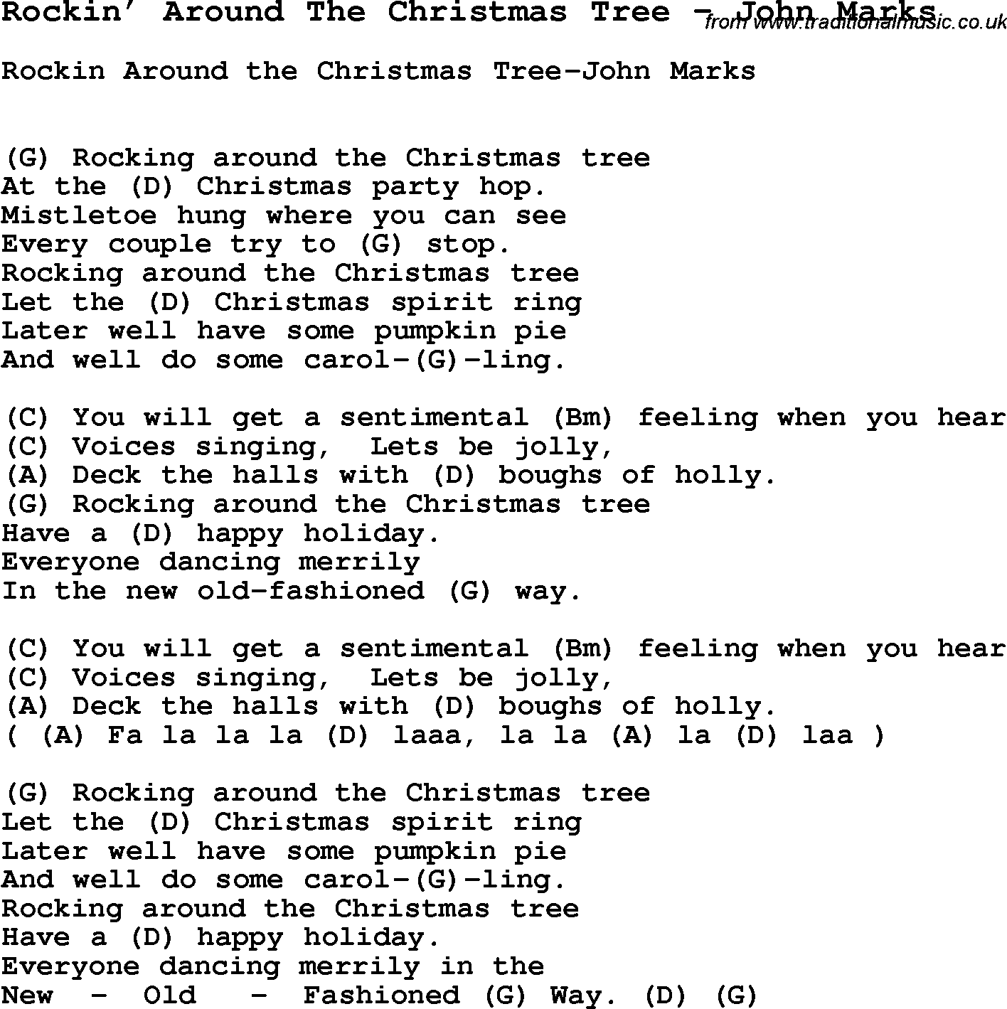 Song Rockin Around The Christmas Tree By John Marks With Lyrics