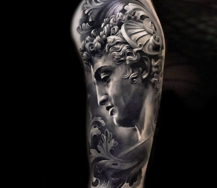 Baroque Bust Tattoo By Andrey Stepanov Post 28466 Greek Tattoos Mythology Tattoos Greek Mythology Tattoos