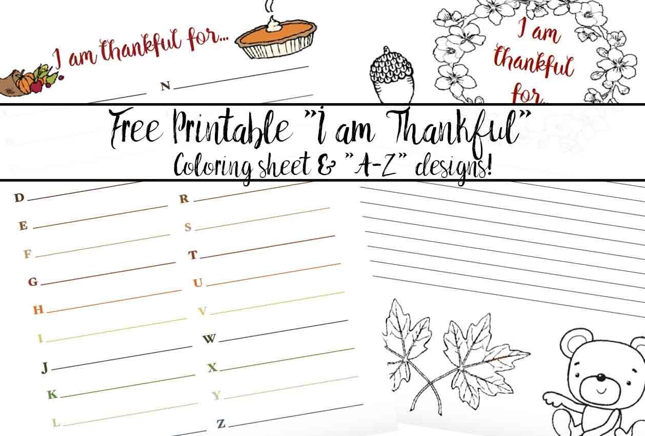 Free Printable Thankful For Worksheet 2 Designs