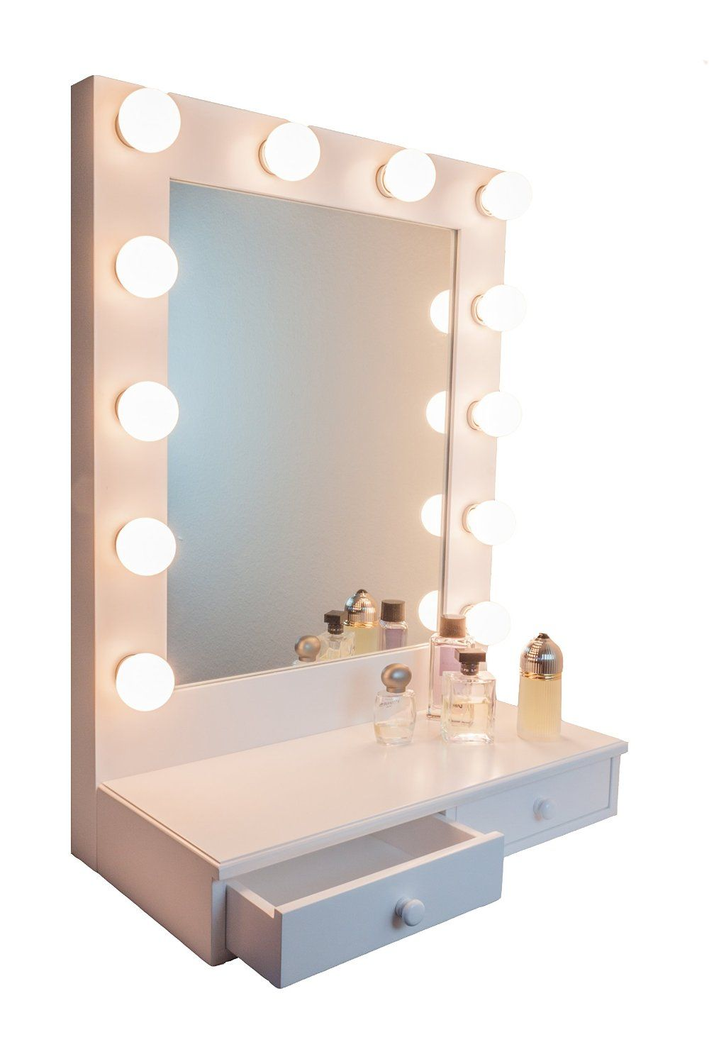 Ideas for making your own vanity mirror with lights diy for White makeup desk with mirror