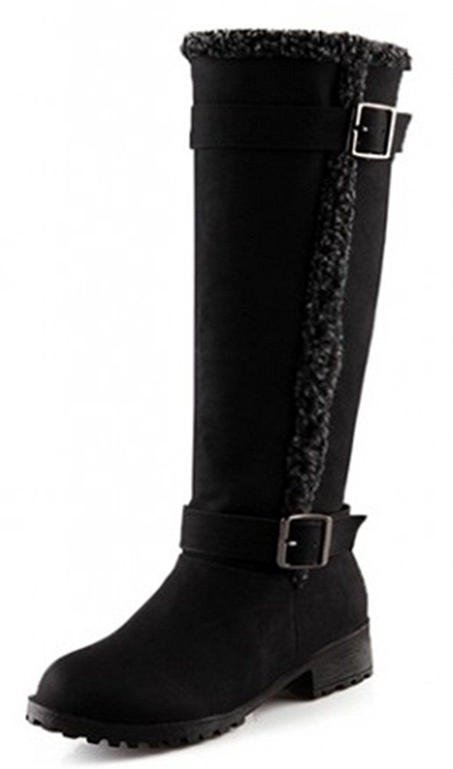 Women'S Boots Checked And Buckle Knee High