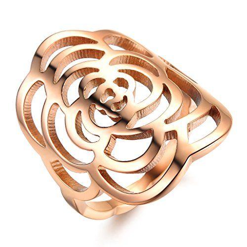bigshop Damen Ring Kamelie Blüte Rose Gold Edelstahl Trauring Gr
