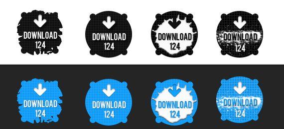 Botões de download do tipo splatter.