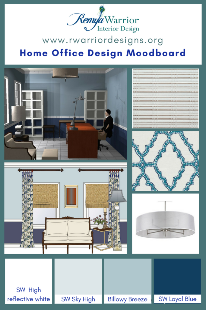 Mood Board For A Home Office Design With Sherwin Williams Paints Billowy Breeze Loyal