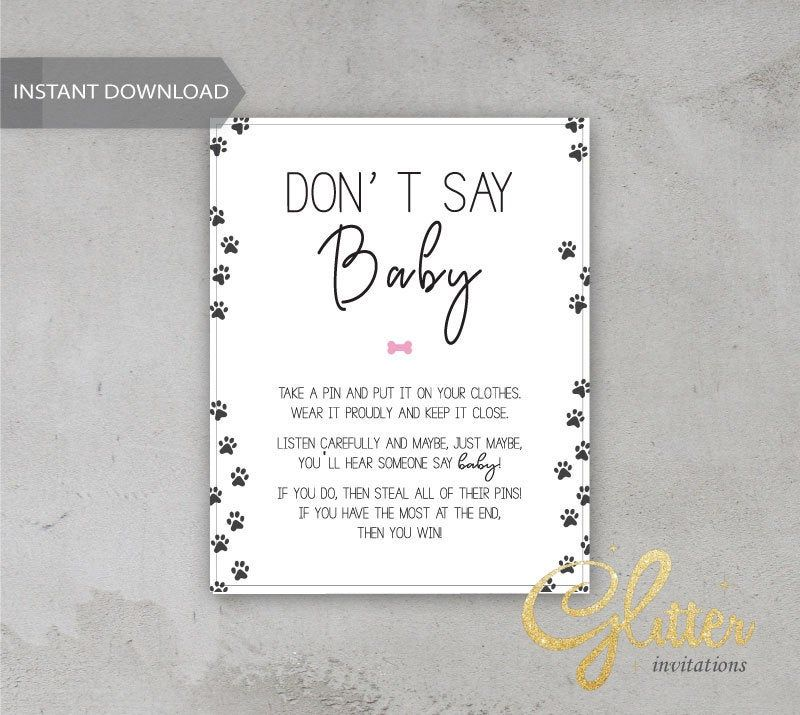 Puppy girl baby shower, Printable Diaper Pin, Clothes Pin Game, Printable girl Dont Say Baby, CY020