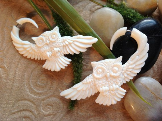SALE Fake Gauge Earrings Owl Design Naturally by DewiDesign, $35.00