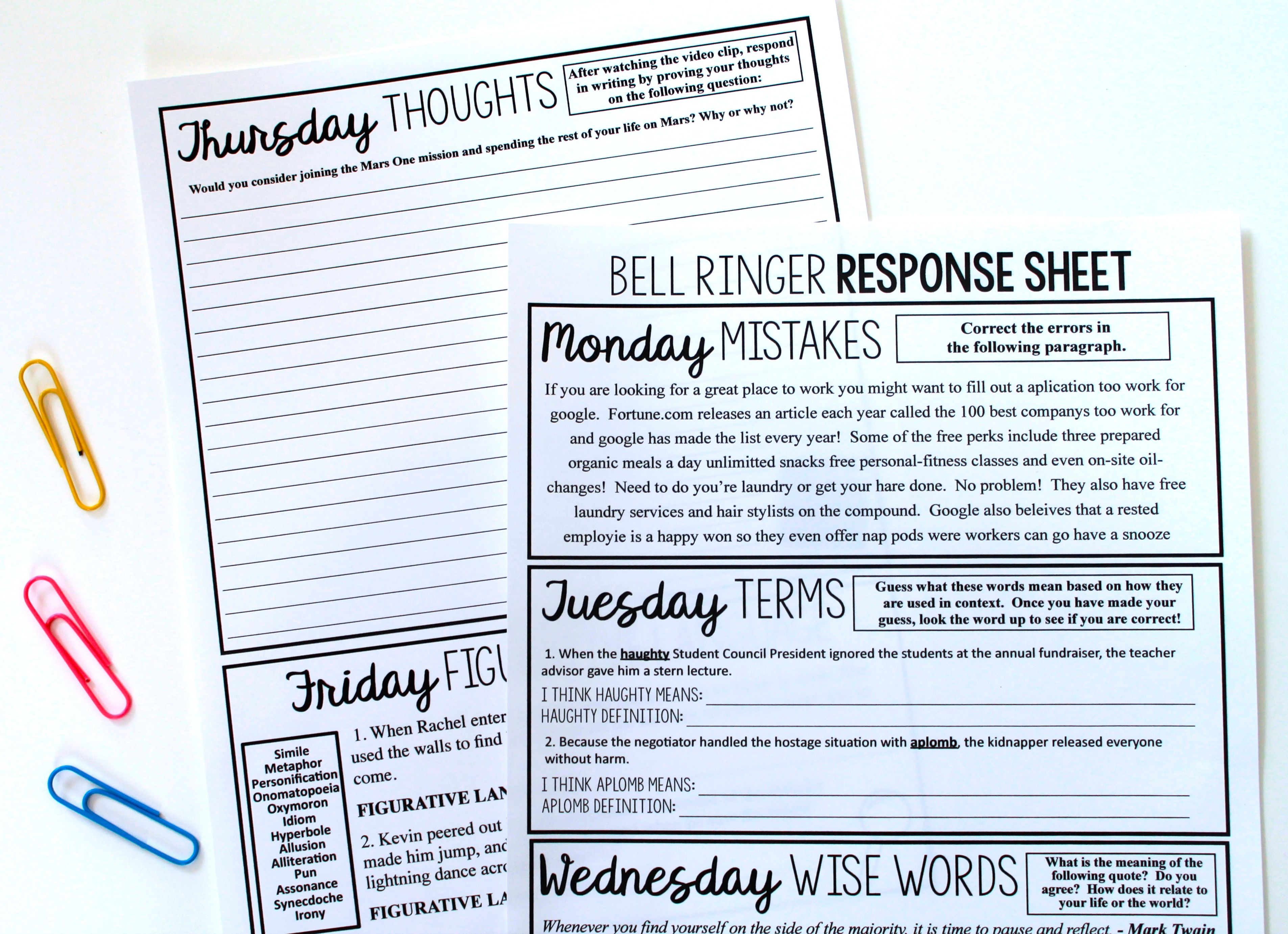 40 Bell Work Ideas For Every Class