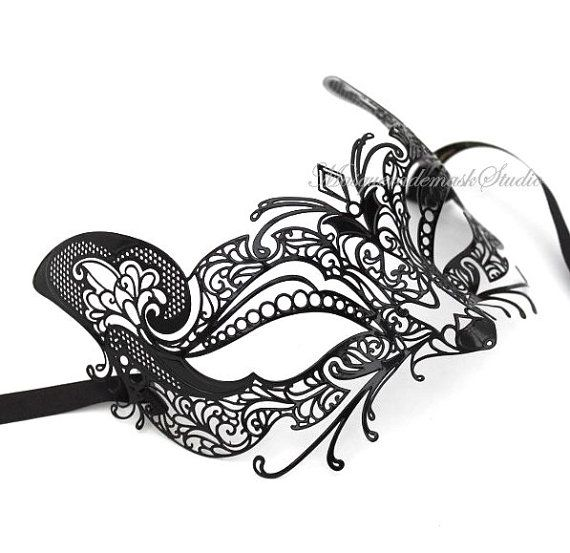 Laser Cut Filigree Metal Black Cat Masquerade mask Venetian Mask - Customer Appreciation Item