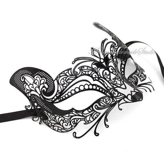 Laser Cut Filigree Metal Black Cat Masquerade mask Venetian Mask - Customer Appreciation Item