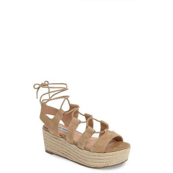 Women's Steve Madden Brayla Wedge Sandal (50.230 CRC) ❤ liked on Polyvore  featuring shoes