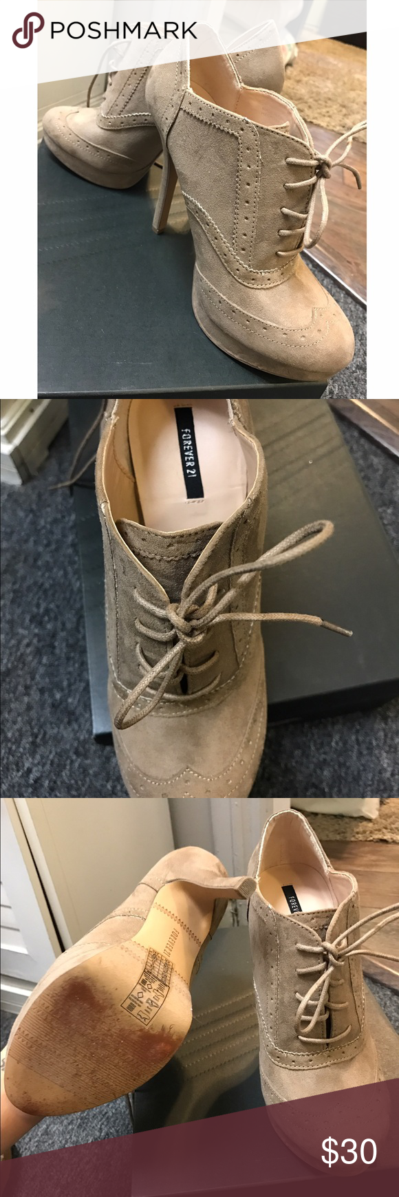Beige pumps Excellent condition, worn once for a few hours. The only sign of wear is on the bottom of the shoe from walking. Forever 21 Shoes Heels