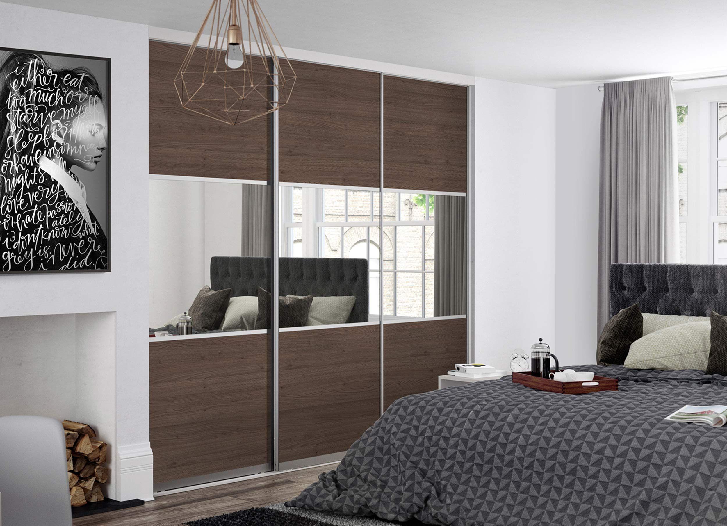 3 panel mirrored sliding closet doors - Premium Midi 3 Panel Tortona Chestnut Mirror Doors With Satin Silver Frame Sliding Wardrobe