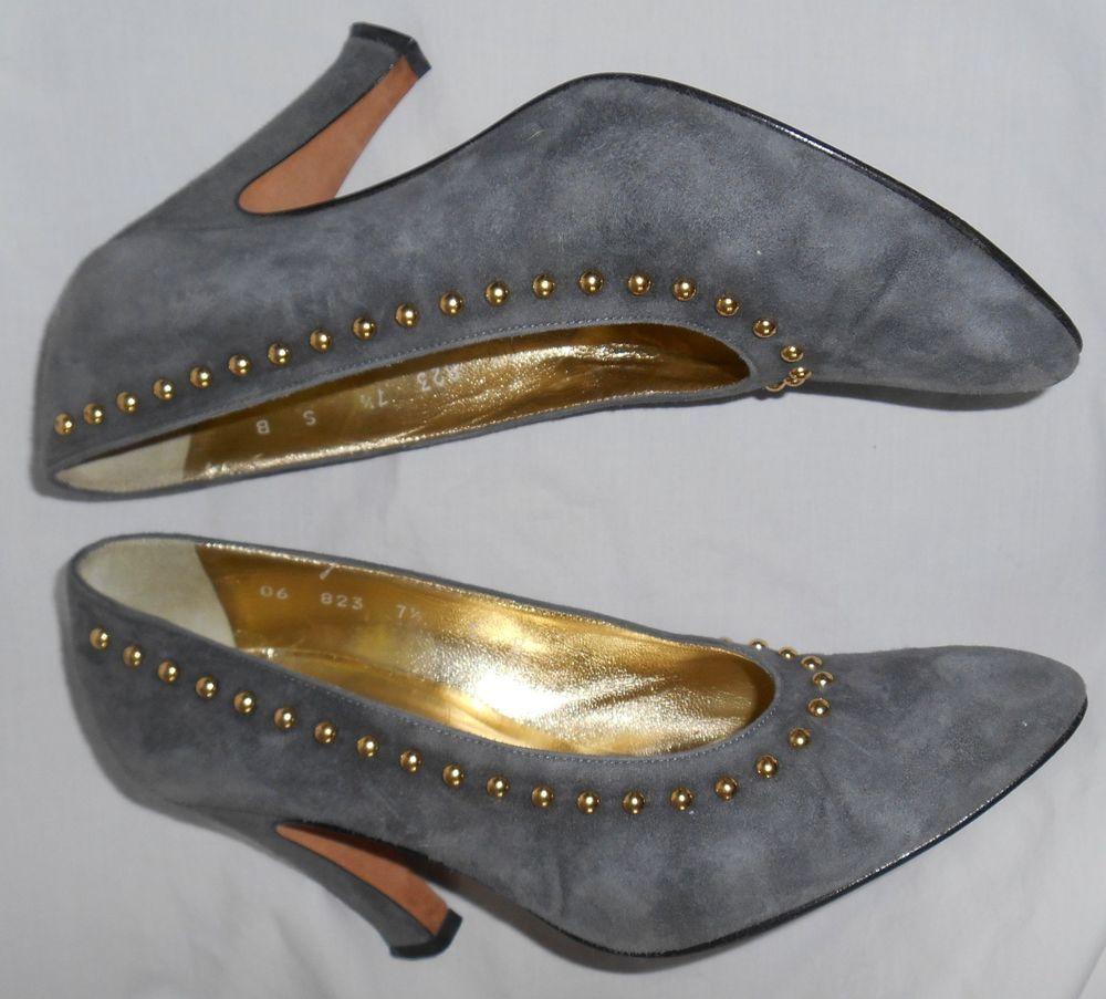 ESCADA Vintage High Heels Shoes Gray Suede Leather Gold Studs 7.5 37.5 B Haute #ESCADA #Heels