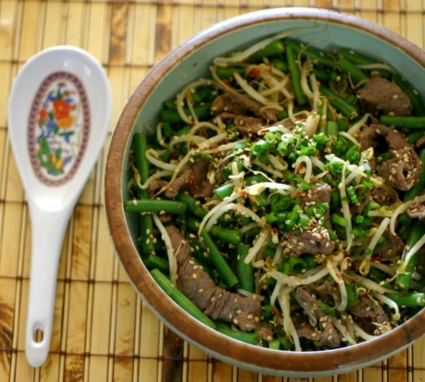 The Food Matters Project: Sesame Orange Beef with Bean Sprouts   Green Beans.  5 Points Plus per serving. Serves 4