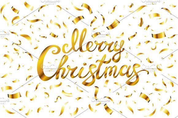 Merry Christmas Gold Confetti Vector Christmas Card Template Gold Confetti Merry Christmas Card