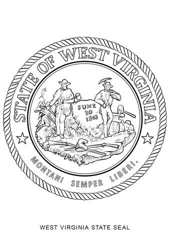 West Virginia State Seal Coloring Page From West Virginia Category