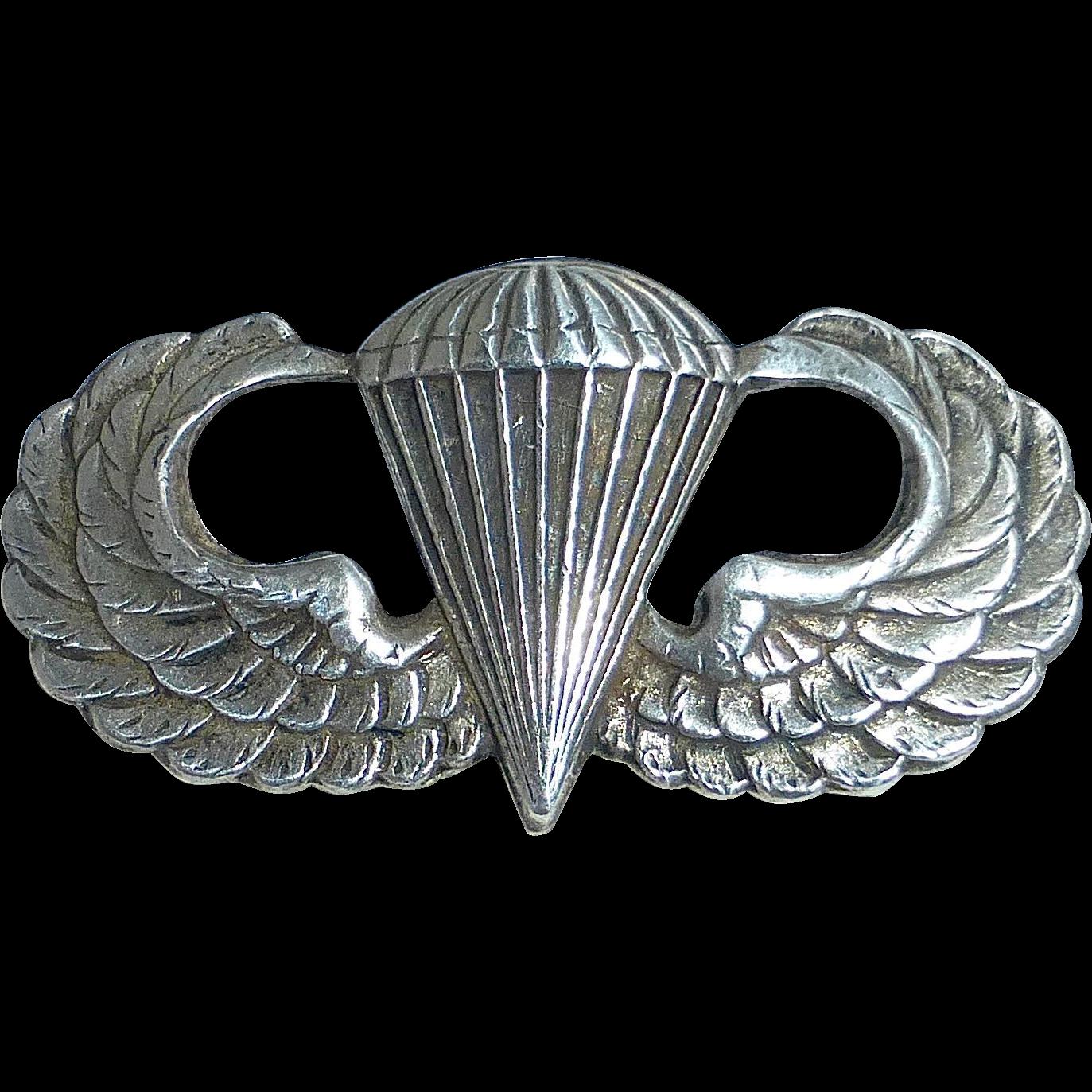 PAIR US ARMY AIRBORNE PARACHUTIST JUMP WINGS BADGE UNIFORM INSIGNIA PIN