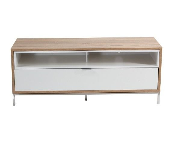 Alphason Chaplin ADCH1135 White And Light Oak TV Cabinet - The Chaplin cabinet range boasts classical furniture styles and ample storage facilities.  It features a range of sizes and styles designed to fit into any décor. Made from high quality and hard wearing melamine with custom aluminium handles, set on strong stainless steel legs, the Chaplin is a strong as it is beautiful.