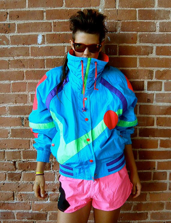 274f78f118 VINTAGE 80s neon new wave ski jacket