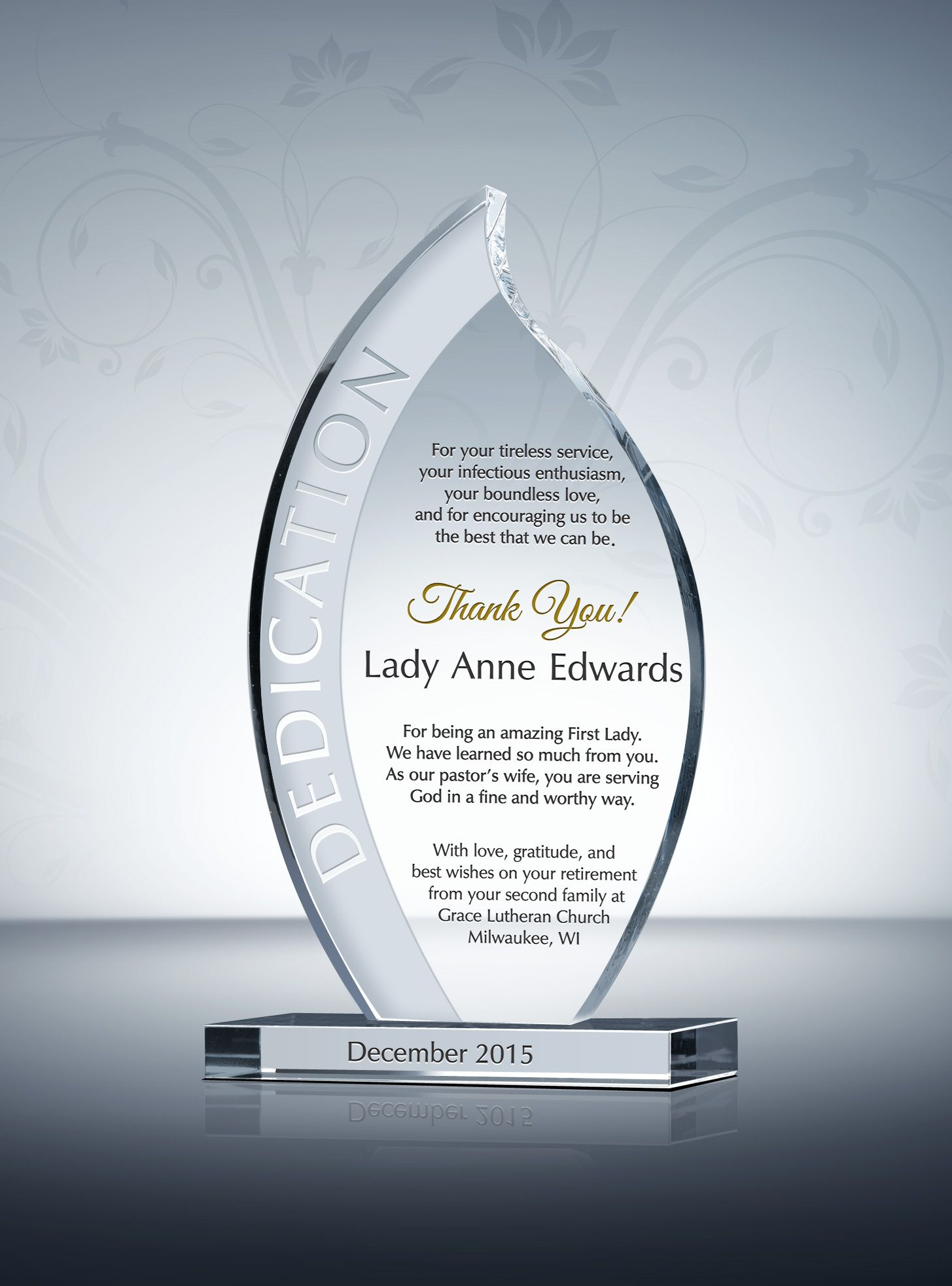 Pastor Wife Recognition Plaque | Appreciation words, Award plaques ...