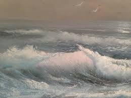 schilderij van een woeste zee