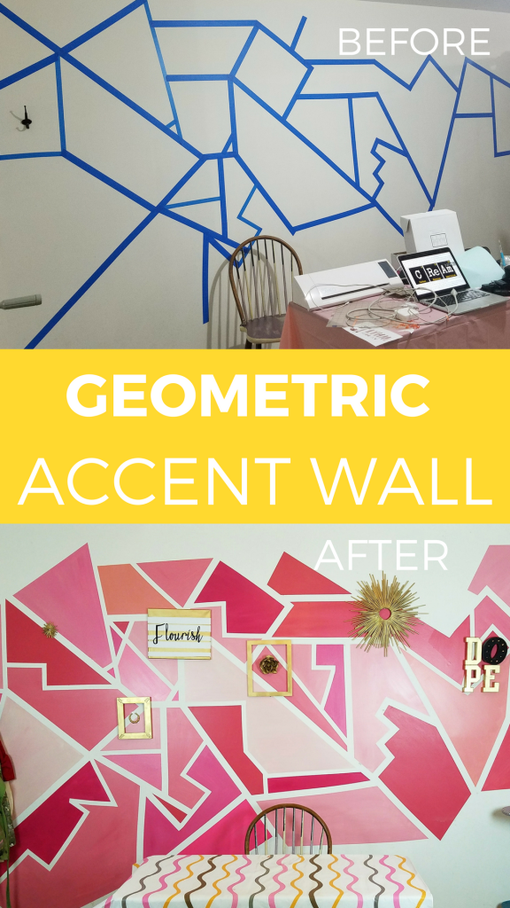 Before and After: Craft Room Geometric Accent Wall http://avdoeswhat ...