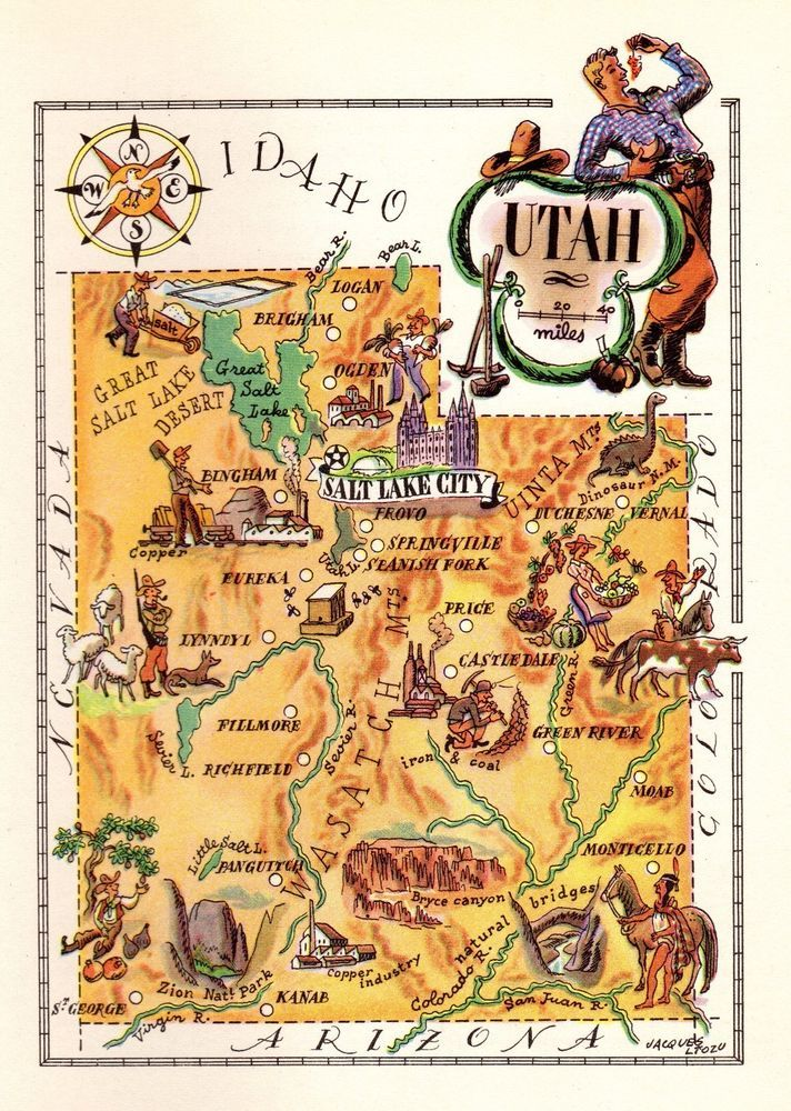 Details about 1950 Antique Animated UTAH Picture Map Vintage State ...