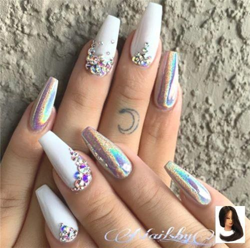 #Bridal #Amazing # For #Wedding Nail Designs #Holographic Nails Amazing W …