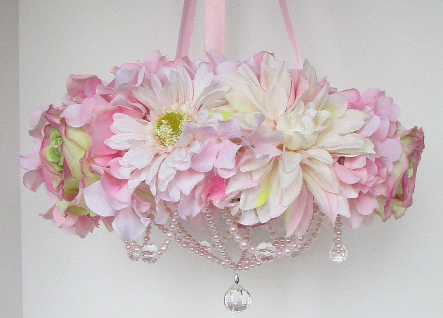 Baby mobile floral chandelier idea for a diy baby girl baby mobile floral chandelier idea for a diy aloadofball Choice Image