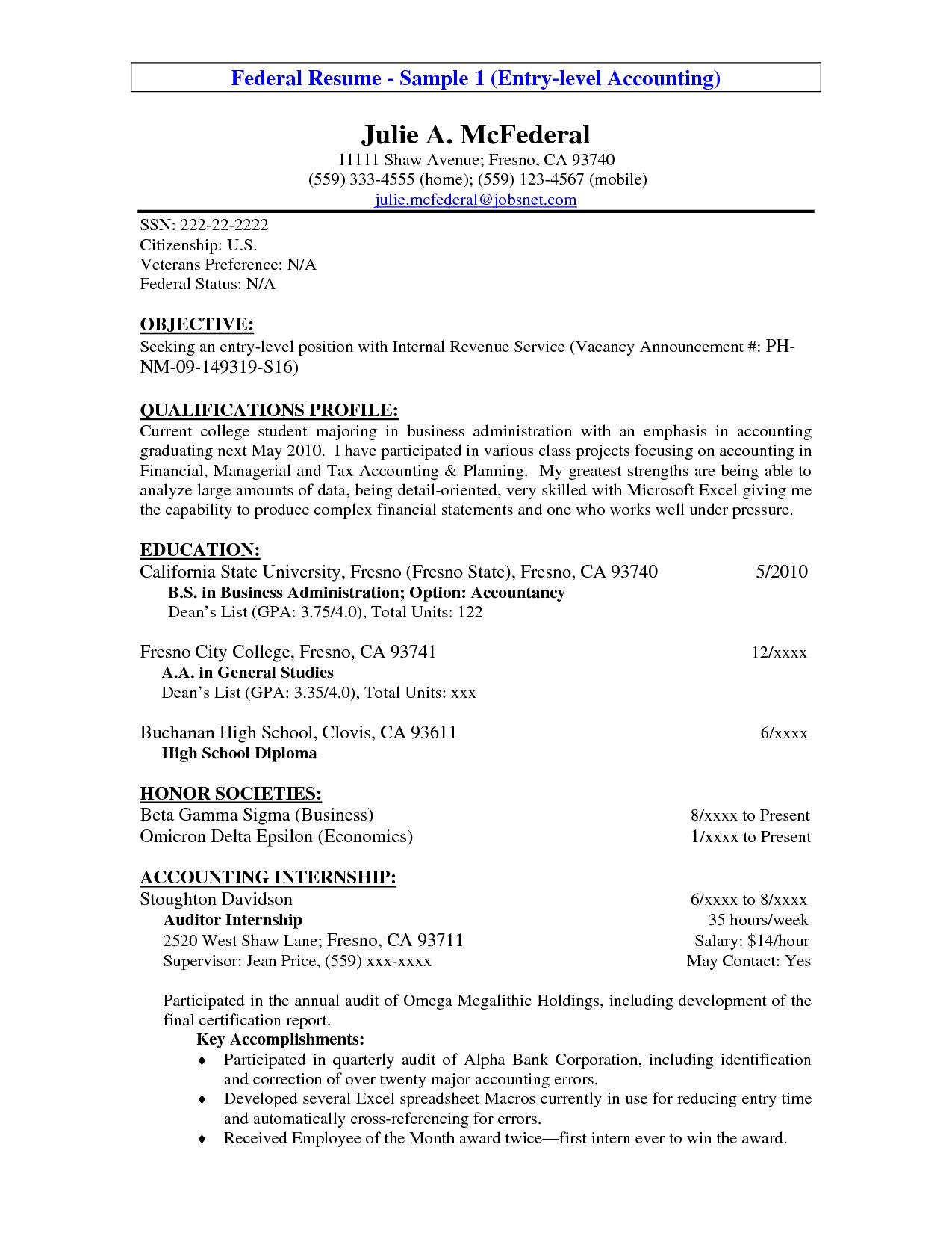Work Objective Resume Sample