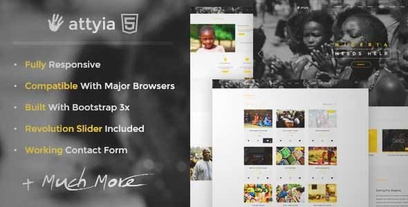Download And Review Of Attyia Creative Ngo And Charity Wordpress Theme One Of The Best Themef Html5 Templates Free Website Themes Wordpress Theme Responsive