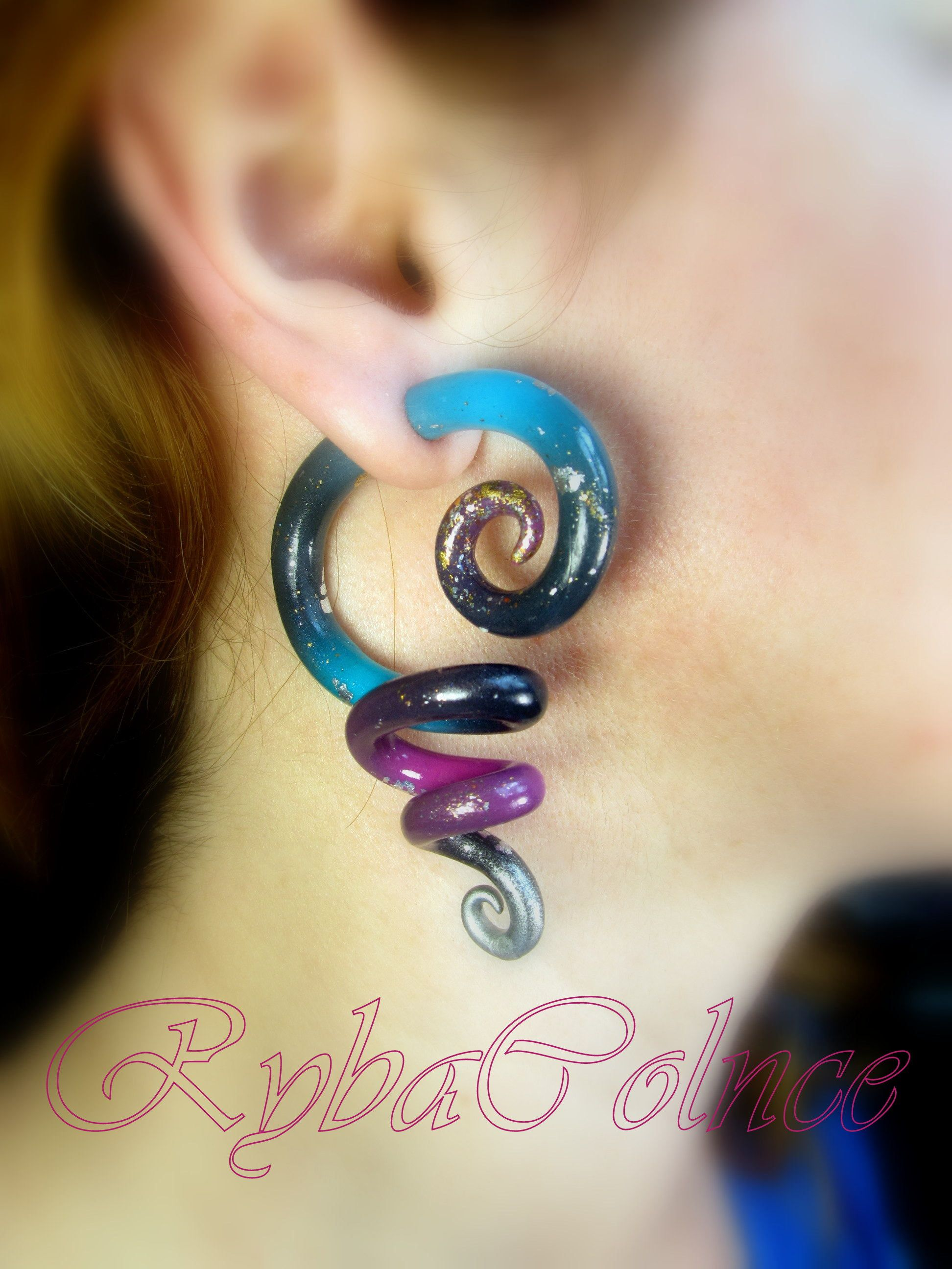 earrings steel mist pin pinterest plugs drop purple oil