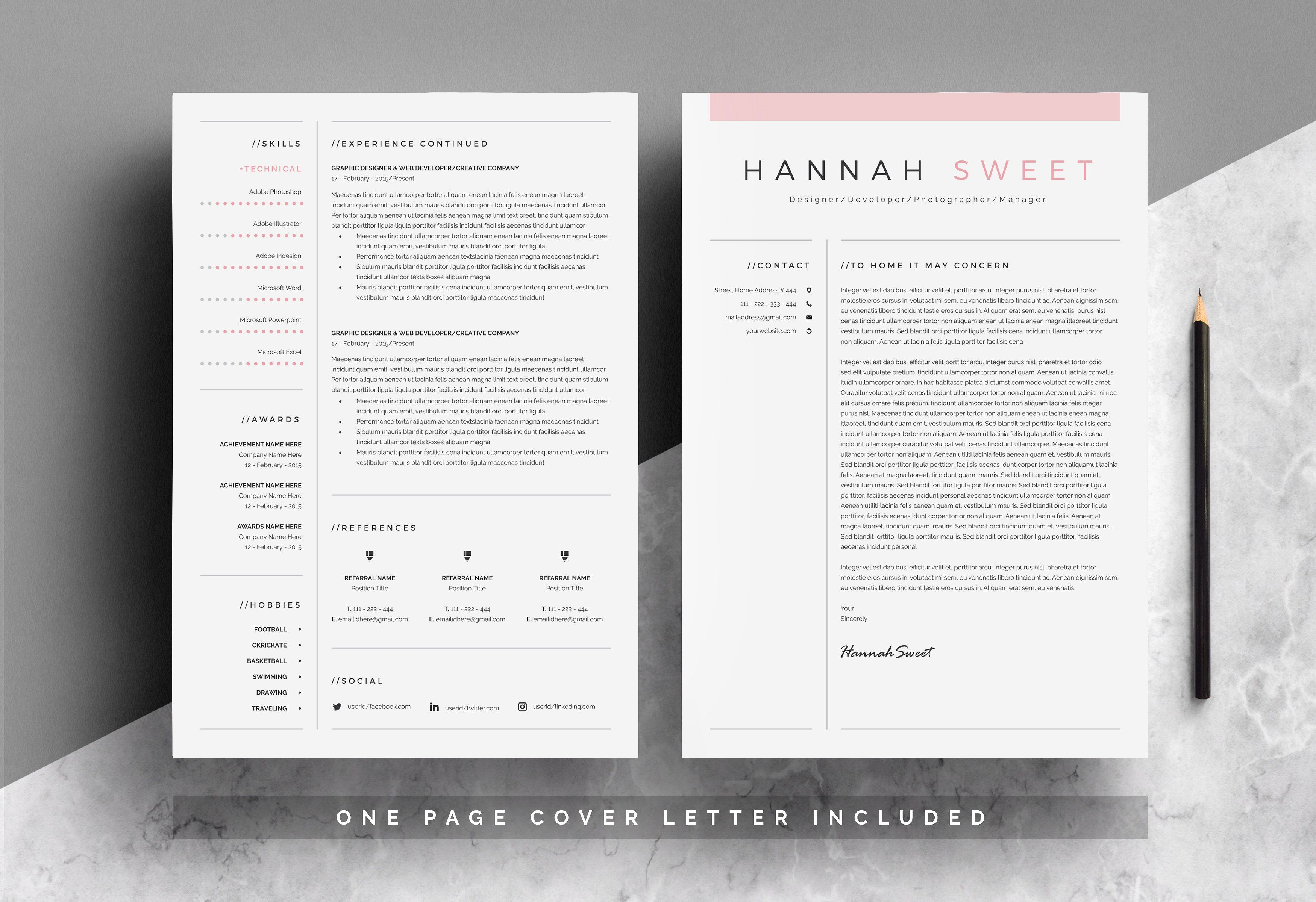 Sweet Cv 3 Pages In Ms Word Paper Size Amp F Print Templates